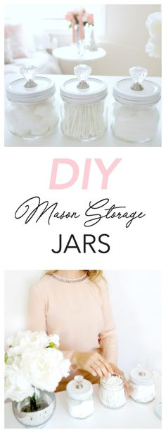 These DIY mason storage jars are an attractive way to organize items like Q-tips, cotton balls, and bath salts. Plus they're simple and affordable to make! Perfect for the bathroom or bedroom! | Haute & Healthy Living