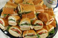 sandwich platter at not so formal wedding when folks are mingling and drinking