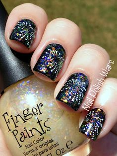 Fireworks nail art. #nailpolishwars