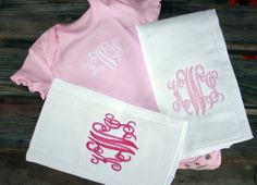 Monogrammed Baby Set Monogrammed baby girl by SewAdorablyCharming, $25.00