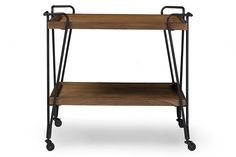 Alera Rustic Industrial Style Antique Black Textured Finish Metal Distressed Ash Wood Mobile Serving Bar Cart