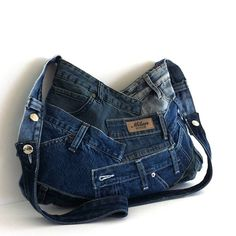 Cross body purse  recycled denim bag  upcycled jean by Sisoibags