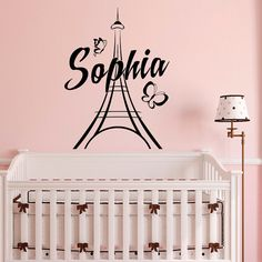 Wall Decal Name Girls Personalized Stickers- Personalized Name Wall Decal Girl- Paris Eiffel Tower Decal Girls Room Bedroom Home Decor  Approximate