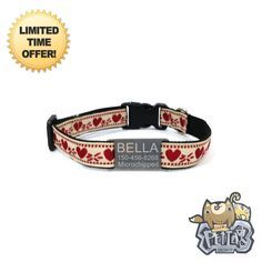 Happy Pet Collar  Red Heart Vintage Personalized Dog Collar