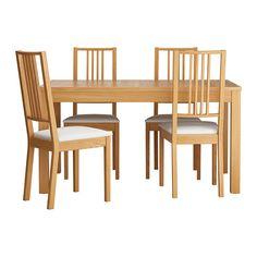 IKEA BJURSTA/BÖRJE table and 4 chairs The clear-lacquered surface is easy to wipe clean.
