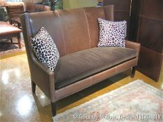 High back leather sofa available in loveseat, apartment sofa, sofa and chair. Over 1000 fabrics, many cushion options- Country Willow Furniture