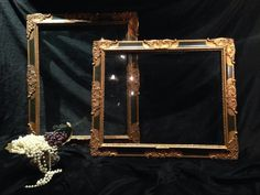 Pair Large Antique Black/Green & Gold Picture Frames Baroque / Rococo Style Ornate (60x50cm) Gold Home Decor / Home Decor / Antique - 02168 Rococo, Baroque, Merry Widow, Décor Antique, Old Picture Frames, Decoration, Window Treatments, Oversized Mirror, Antiques