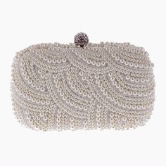 top-handle-handbags 100 Hand made Luxury Pearl Clutch bags Women Purse  Diamond Chain white Evening Bags for Party Wedding black Bolsa Feminina 9dfd66b0e29b