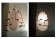 origami lamps, 3simple things, old stripped lamp shade, paperlamp, paper to fold origami birds....:) bit of paint and love