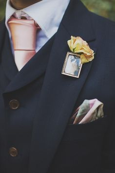 Picture brooch wedding buttonhole