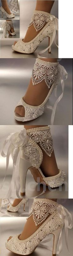 Wedding Shoes And Bridal Shoes: 34 Heel Satin White Ivory Lace Ribbon Ankle Open Toe Wedding Shoes Size 5-9.5 BUY IT NOW ONLY: $35.59
