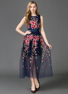 Polyester Silk Floral Sleeveless Maxi Casual Dresses