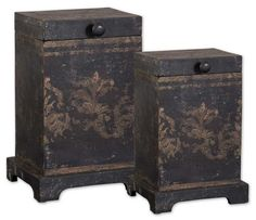 Melani Boxes S/2 19320 by Uttermost - Uttermost Melani Boxes S/2 Mirror 19320These boxes are made of plantation grown mango wood with the aged black and gold hand painting. Sizes: Sm-6x8x5 Lg-8x12x7SKU: 19320UPC: 792977193204Collection: Melani Boxes S/2Minimum Order Quantity: 1Material: Mango Wood/BrassOverall Width: 7.5Overall Height: 11.5Box Size: 10.25 L x 8.75 W x 13.5 TShipping(UPS): YesFinish/Frame Description: Plantation Grown Mango With The Aged Black And Gold Hand…
