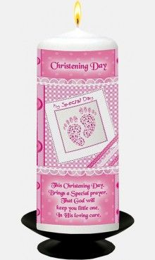 Pink Baby Footprints Christening Candle