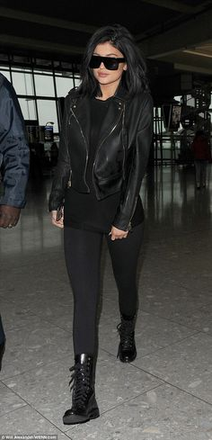 5bfe0dfb39b Kylie Jenner opts for grown-up glam in leather jacket and leggings