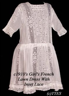 408: c1910's Girl's French Lawn Dress w Inset Lace : Lot 408