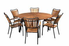 Teak ø150 cm havebord med 6 stole Outdoor Tables, Outdoor Decor, Lazy Susan, Teak, Outdoor Furniture Sets, Dining Table, Home Decor, Dinning Table, Interior Design