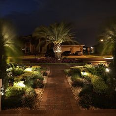 31 Landscape Lighting Ideas Walkways to Beautify Your Front Yard. Prior to you invest in any type of landscape lighting, ask yourself what your functions Garden Landscape Lighting Ideas, Backyard Lighting, Outdoor Lighting, Wall Lighting, Tree Lighting, Exterior Lighting, Kitchen Lighting, Palm Trees Landscaping, Tropical Landscaping