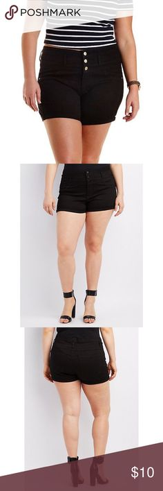 Black High Waisted Shorts Gently worn high waisted shorts. Size 14. Stock photos for reference. Only worn 3 times but my dryer wore off some of the plating on the buttons. Otherwise excellent condition. No fading, rips, or stains. Stretchy and soft material, not denim-like. These are more silky feeling and smooth. 💕 refuge Shorts