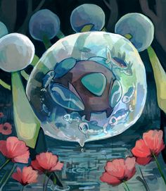 krithidraws:  Araquanid - Despite what its appearance suggests it cares for others. If it finds vulnerable weak Pokémon it protectively brings them into its water bubble. pokemon pokemon go pikachoo follow back pokemon art ash