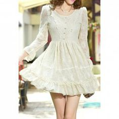 Solid Color Ladylike Style Lace Scoop Neck Flare Sleeves Dress For Women