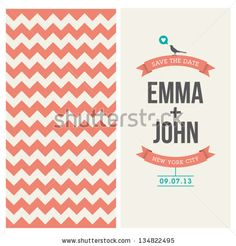 wedding invitation card editable with background chevron, font, type, ribbons, bird, and heart vector - stock vector