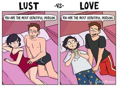 Funny illustrations that depict two feelings of a person in love and in lust…