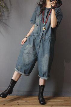 78cd1e422e1 Korean Fashion Button Down Rompers Denim Baggy Dungarees for Woman