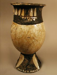 Ostrich Egg-shell Cup from Kish.    Kish East, Mound A, Burial A88  Ostrich egg shell, bitumen, mother-of-pearl