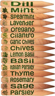 Herb Garden Plant Pot Markers - 15 Green w/Pics. $22.98, via Etsy.