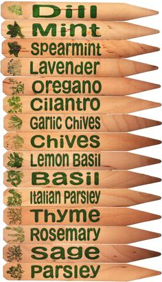 Herb Garden Plant Pot Markers - 15 Green w/Pics. $22.98, via Etsy.