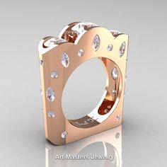 French 14K Rose Gold Three Stone Round and Marquise White Sapphire Diamond Wedding Ring R733-14KRGDW | ArtMastersJewelry