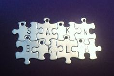 Personalized puzzle piece necklace, set of 12 , bridesmaids gifts,  on Etsy, $168.00