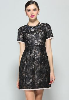 Black Short Sleeve Embroidered Lace Dress