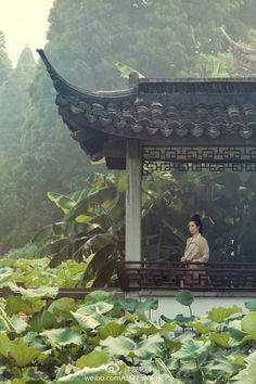 A pavilion, a lotus pond and a girl in traditional Chinese attire