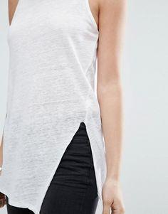 Camiseta sin mangas de lino con detalle de costuras de e875929ae5e