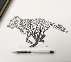 Italian artist Alfred Basha combines animals and natural elements such as trees, branches and leaves to create his beautiful drawings. More illustrations via Ideia Quente Cute Drawings Of Love, Cool Pencil Drawings, Beautiful Drawings, Easy Drawings, Pen Drawings, Tattoo Sketches, Wolf Illustration, Ink Illustrations, Digital Illustration