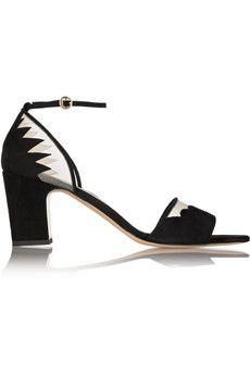 Bionda Castana Cecile mesh-trimmed suede sandals   THE OUTNET