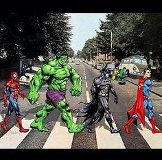 Spiderman, Hulk, Batman, and Superman walking down Abbey Road :p