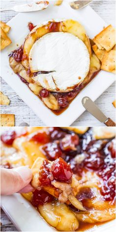 The Best Baked Brie with Balsamic Cherries - Only 3 ingredients & ready in 15 minutes! So easy and perfect for entertaining! #FathersDay #FourthofJuly