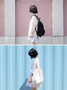 black back pack, cream sweater cream back pack, white shirt