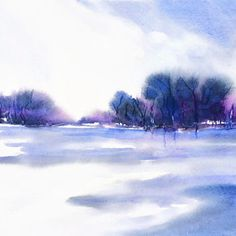Large Wall Art Landscape Abstract Watercolor Painting Original Artwork, Nature Art Landscape Print Painting Purple Art Lake Print Wall Decor