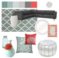 The exact color scheme of our living room now and the sofa is similar to one we are getting :) I need these accents in my life!
