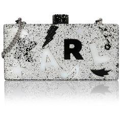 Karl Lagerfeld Minaudiere Charms ($180) ❤ liked on Polyvore featuring bags, handbags, clutches, purses, white, mini pochette, lucite box clutch, lucite purse, hand bags and white clutches