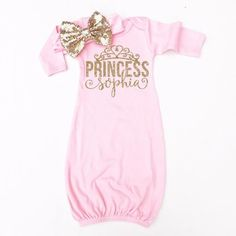 The perfect gown for your new precious baby girl. An incredibly soft fabric with the glitz and glam of glitter accents! - Made of 65% Polyester and 35% Cotton for an incredibly soft feel. - Profession