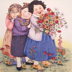 """❤️"""" by Mary Engelbreit. Can also be my sisters and me since we're best friends. Sister Friends, Three Friends, Great Friends, Mary Engelbreit, Friends Clipart, Flower Power, Illustrators, Illustration Art, Instagram"""