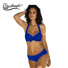 1f0ba6cd573 2017 New Bikini Halter Swimwear Women Push up Solid Bow Design Swimsuit  Sexy Swimming Bathing Suit Beach Wear Biquini-in Bikinis Set from Sports ...