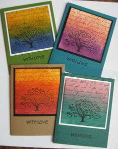 Inked background by sponging/rolling two colors of ink and overlapping colors. Background words from Local King Rubber Stamp. Tree stamp by Inkadinkado.