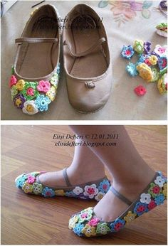 I know a little girl who would just LOVE these! [con flores de ganchillo]