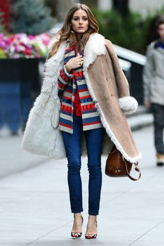 Olivia Palermo style in shearling